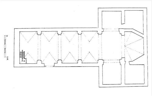 El dibujo de la planta está tomado del libro Catálogo monumental de la diócesis de Cuenca. El texto es mío.