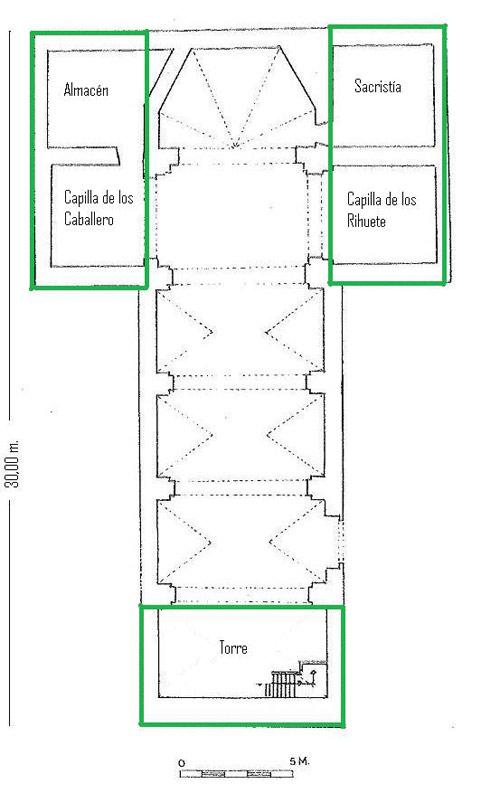En la reforma de 1866 es probable que se construyera la torre de las campanas y también las capillas laterales, que le dan forma de cruz latina. La sacristía y el almacén que hay a cada lado del presbiterio serían consecuencias derivadas.